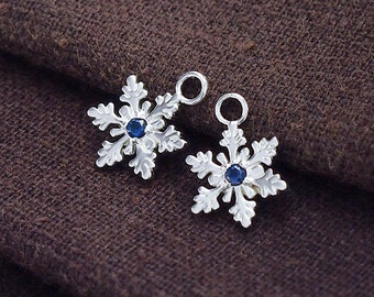 2 of 925 Sterling Silver Snowflake Charms, with Lab grown Sapphire .   :tm0127