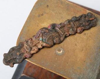 Antique brass plate, embellishment, connector, part, primitive finding