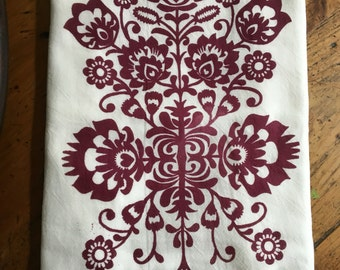 Folk Art Tea Towel-Burgundy