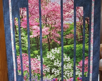 Quilted Wall Hanging - Spring Floral Landscape with BlueTrim and Cherry Blossom border