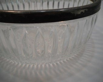 Vintage Cut Crystal Glass Bowl With Silver Plated Rim