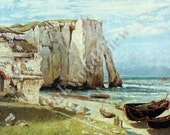Cliff of Etretat after the Storm by Gustave Courbet, Vintage 9x12 Print, France, Ocean Seascape, Ships Boats Sailing, FREE SHIPPING