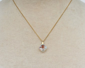 Vintage 1990 Signed Avon Genuine Austrian Crystal Pendant 14 KT Gold Filled Aurora Borealis Glass Stone Chain Necklace Original Box NIB