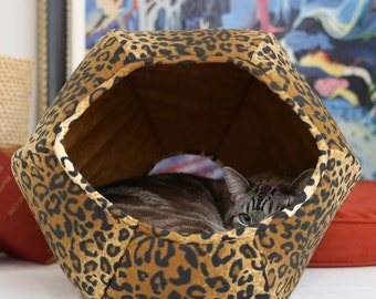 Cat Ball® Cat Bed in Leopard Cotton Fabric - a Modern Pod Style Cat Bed