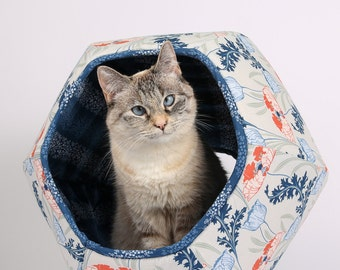Art Nouveau floral modern pet furniture design - the Cat Ball kitty bed in coral, navy, grey and blue flowers - made in Washington