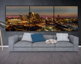 Minneapolis Skyline on Canvas,  Large Wall Art, Minneapolis Print, Minneapolis art, Minneapolis Photo, Minneapolis Canvas, panoramic