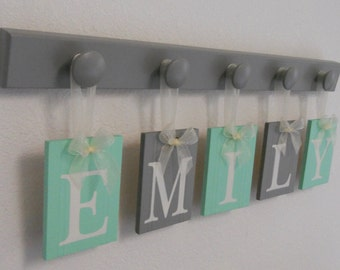 Baby Gift Personalized Letter Name | Mint and Gray Unique Gift | Baby Girl Shower Gifts | Custom New Baby Nursery Name Sign