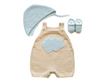 Knitted baby set, overalls, cap and shoes. Taupe and blue cloud. 100% cotton. READY to SHIP size NEWBORN.