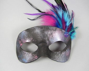 Nebula Feathered Pink and Purple Leather Masquerade Mask