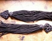 Vintage Pair of Asian Inspired Long Black Tassels