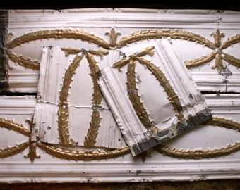 Vintage Tin Decorative Ceiling Molding Pieces - Architectural Salvage