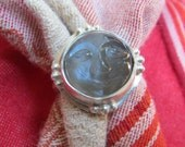 Carved Moon Face Large Gray Moonstone in Granulated Sterling Ring Size 7 & a Quarter