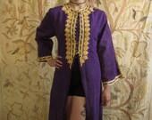 60s Vintage Purple Gold Lame Hippie Maxi Coat