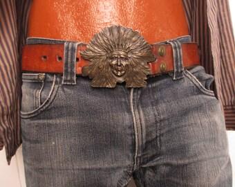 70's Vintage Men's Hippie Western Brass Buckle belt med.