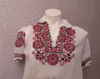 reserved Vintage Hand Embroidered Hungarian Peasant Blouse Hippie Top