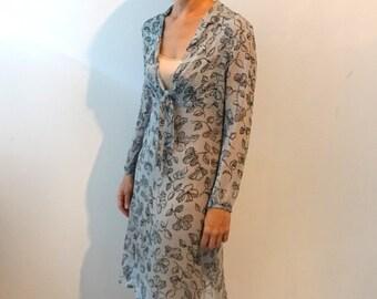 ON SALE Vintage 1940s style pale blue silk crepe chiffon midi dress with black floral line pattern