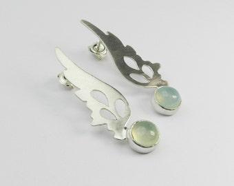 Hermes Wings Earrings with aquamarine chalcedony