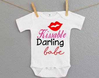 Valentines Day Onesie - Personalized Tshirts or Onesie- Kissable Darling