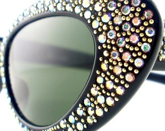 Vintage Cat Eye Glasses Eyeglasses Sunglasses Rhinestones Paris France Eyewear