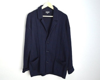 July SALE - 15% Off - Vintage Navy Wool Brooks Brothers Cardigan Sweater // mens large