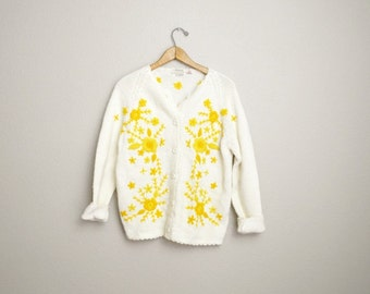 Vintage 60s Yellow Flower Floral Embroidered Cardigan Sweater // womens medium / large