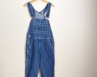 Vintage 80s 90s KEY Dark Wash Denim Jean Overall Dungaree Pants // womens small