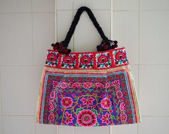 Large Hill Tribe Bag - Hmong Ethnic Bag - Thailand Hmong Hilltribe Bag - Embroidered Fabrics Tote Bags