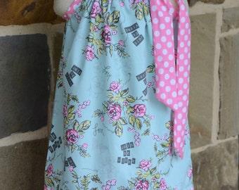 Aqua and Pink Floral Pillowcase Dress