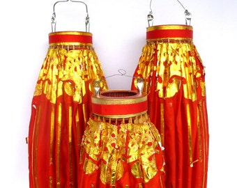 Vintage Shabby OVERSIZED RED LANTERNS