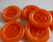 9 Orange Frosted Large Round Buttons Size 1 3/16""