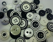 50 Black and White Formal Assorted Buttons Crafting Sewing Buttons