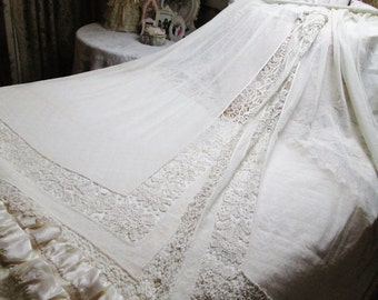 pair panels french net lace curtains shabby chic (SALE PRICE)