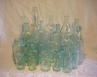 c1870-1920 Group of 25 Cork Top Mixed Aqua Glass Medicine, Food and Beverage Bottles Great for Wedding Decor Lot No. 1