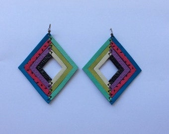 Multi Color Leather Earrings