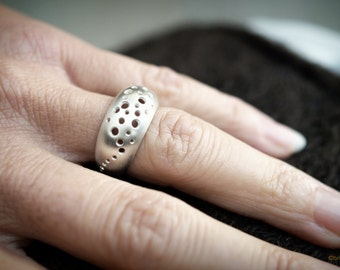 Silver Domed Bombé Ring drilled with Holes - Matt finished ring // gifts for her