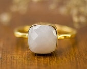 SALE - White Agate Cushion Ring - White Stone Ring - Stacking Ring - Gold Ring- Cushion Cut Ring - Bridal Ring - Mother's Ring