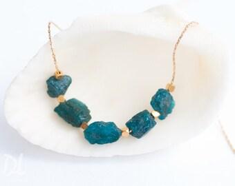 Raw Neon Apatite Necklace - Gemstone Necklace - Raw Aqua Stone Bar Necklace - Raw Stone Necklace - Layering Necklace - Boho Chic Necklace
