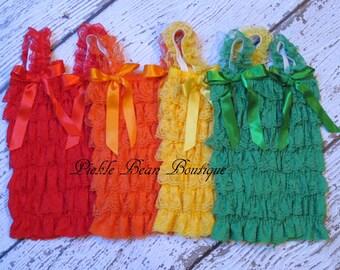 Ruffle Top Tutu, Tutu Tops, Ruffle Top, 1st Birthday Girl Outfit, Lace Petti Top, Red Ruffle Top, Orange, Yellow, Green, Lace Shirt Baby