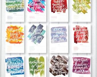 "2017 ""Hip Hymns"" Mini Calendar - Hand Lettering & Digital Watercolors"