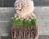 Fair Isle Baby Chunky Hat with Pom Pom in Taupe, Grass and Linen//Photo Prop//Bringing Home Baby//Baby Shower Gift