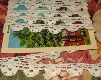 """Tiny  1/2"""" Vintage Hand Crocheted Lace Trim 2 yds"""
