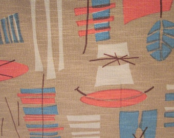 Tiki Atomic Retro Mid Century Mod Eames era reproduction Barkcloth hand screenprinted 1950s fabric