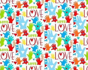 Jesus Loves Me Multi Hands Love premium cotton fabric by Sharyn Sowell Collection for Henry Glass
