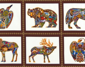 Animal Spirits Metallic Sea Life Earth 24x44 Panel premium cotton fabric from Robert Kaufman, bear, moose, deer, eagle