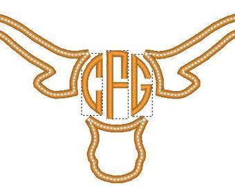 Longhorn Monogram Applique Embroidery Design 4x4 5x7 6x10 8x12
