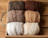 Needle Felting Wool Assortment, Batts, Fiber Sampler, Neutral, Natural Brown, Beige, Oatmeal, Sand and Soil, Wet Felting, Spinning, Supplies