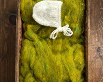 Wool Fluff Basket Stuffer, Photography Prop, Golden Pear, Spring Green, Citron, Textured Wool Batting, Childrens Photo Prop, Natural, Fleece