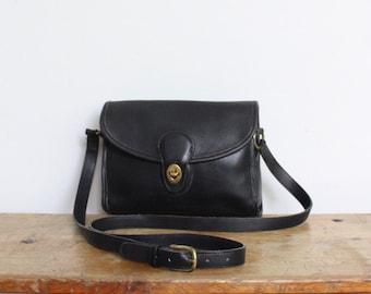 Vintage Coach Bag // Devon Bag Black Leather Messenger Crossbody Bag 9908