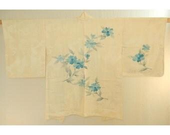 Cream with painted flowers haori - a vintage silk kimono jacket