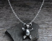 Spring Sale 10% Teddy Bear Pendant Necklace in sterling silver